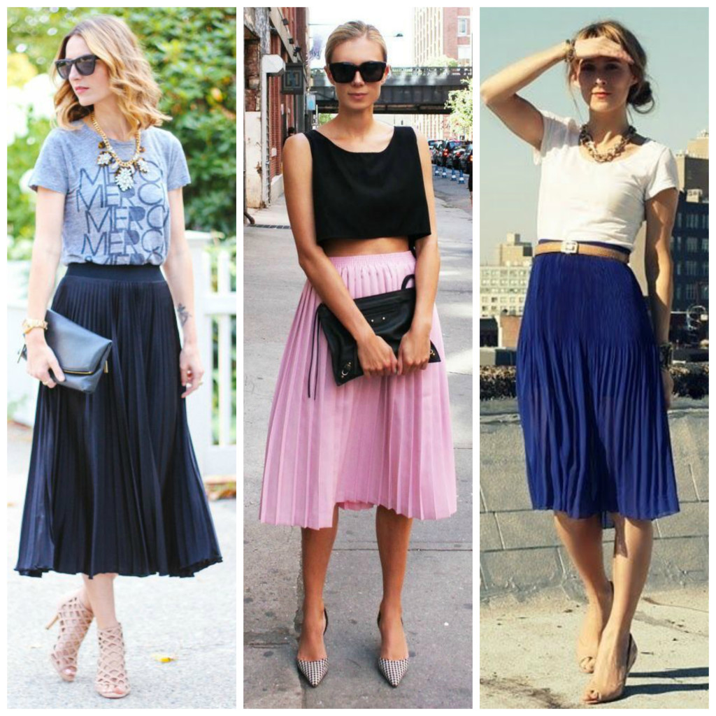 pleated midi skirt summer_ saia midi plissada verao